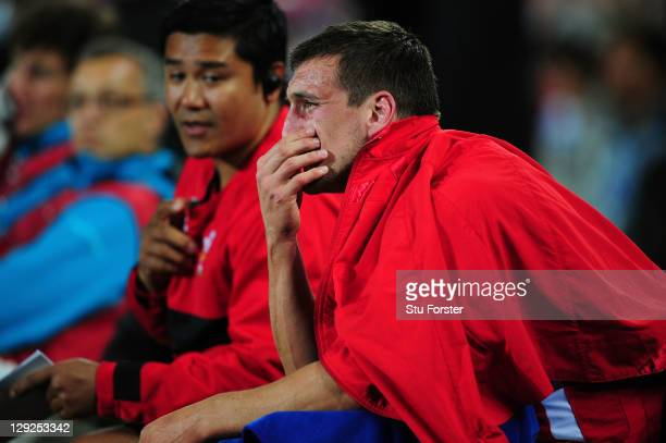 Distraught Wales captain Sam Warburton reacts after receiving a straight red card for a dengerous tackle on Vincent Clerc of France during semi final...