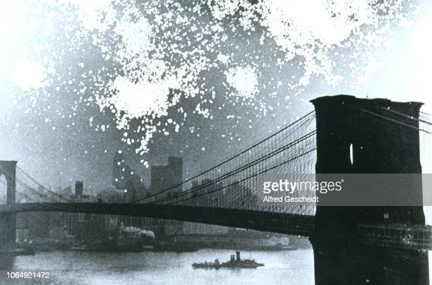 A distressed image of Brooklyn Bridge in backlight New York City US 1993