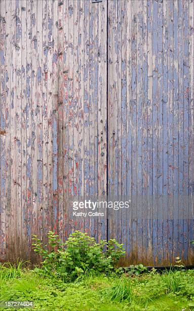 distressed painted wooden shed doors - アバフェルディ ストックフォトと画像