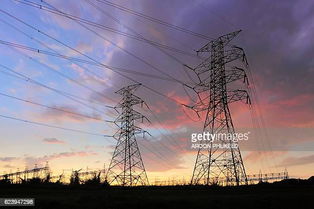 distribution electric substation with power