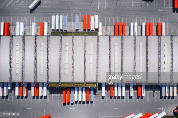 distribution logistics building parking lot - sending stock photos and pictures