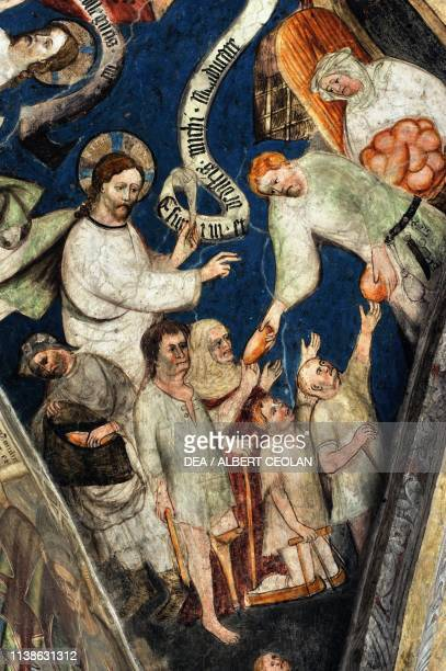 Distribution of bread fresco on the cloister vaults cathedral of Saint Mary of the Assumption and Saint Cassian Brixen Eisack Valley TrentinoAlto...