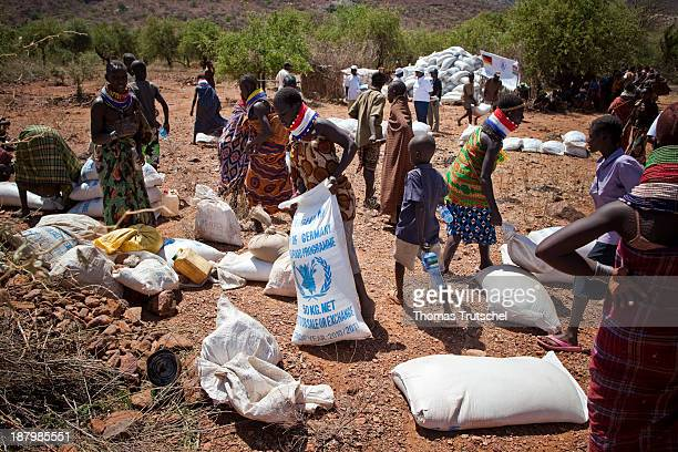 Distribution of food in North Kenya nomadic people are receiving different staple goods