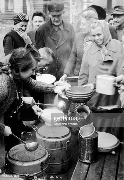 Distribution Of Soup For The Victims Of The Bombing Of Frankfurt 1945