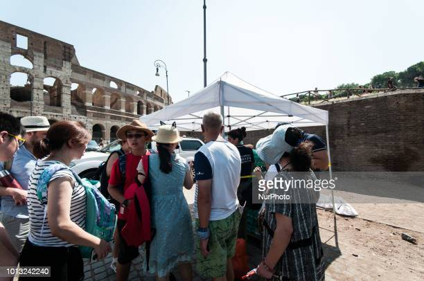 Distribution of water by the Civil Protection of Rome Capital on the occasion of the heat wave on August 08 2018 in Rome Italy