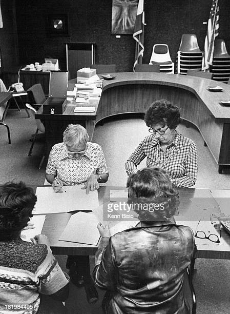 OCT 4 1977 OCT 5 1977 District 14 election judges count absentee ballots facing camera are Alice Gross left and Pal Marry Close race necessitated...