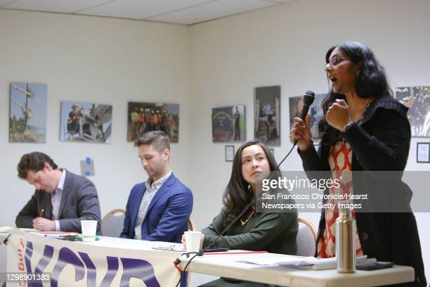 District 3 candidates, from left, Logan Bowers, Zachary DeWolf, Ami Nguyen and incumbent Kshama Sawant particpate in a candidate forum hosted by the...