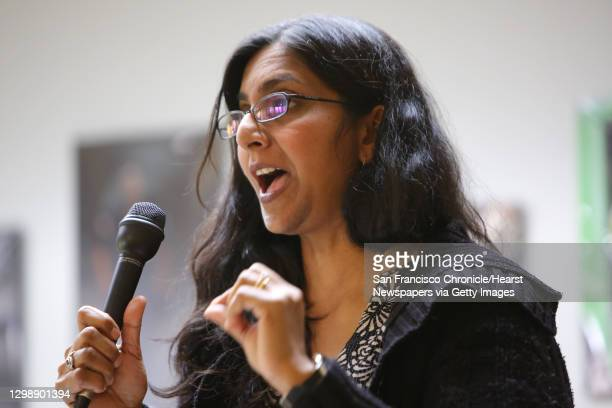 District 3 incumbent Kshama Sawant speaks during a candidate forum hosted by the King County Young Democrats, Sunday, April 28, 2019 at the...