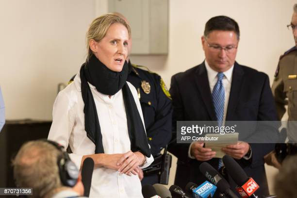 District Attorney Audrey Gossett Louis answers questions at a press conference at the Stockdale Community Center following the mass shooting which...