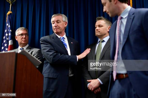 District Attorney Kevin Steele with Andrea Constand and prosecutors on his side gives emotional remarks after the guilty verdict of Bill Cosby on all...