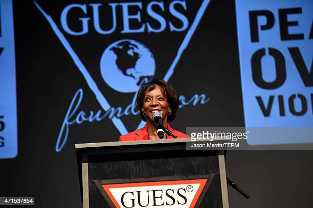 District Attorney of Los Angeles County Jackie Lacey speaks onstage at the GUESS and Peace Over Violence press conference for the 16th annual Denim...
