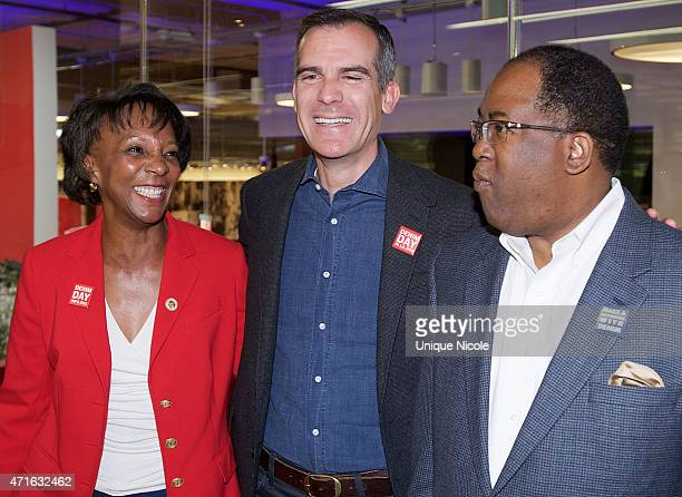 District Attorney of Los Angeles Jackie Lacey Los Angeles Mayor Eric Garcetti and Los Angeles County Board of Supervisors Mark RidleyThomas attend...