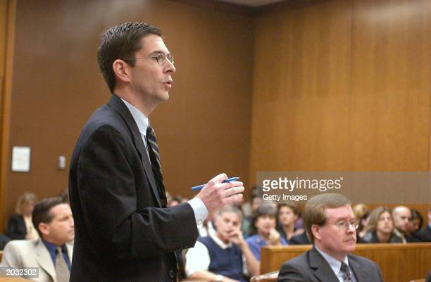 District attorney Rich Distaso speaks during Scott Peterson's pretrial hearing May 27 2003 in Modesto California Stanislaus County Superior Court...