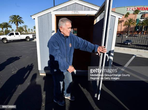 S District Court Judge David O Carter shows off a Tuff Shed he is suggesting the county uses to house homeless people in Anaheim California on...