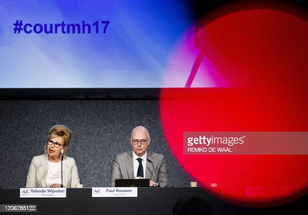 District Court of The Hague Dutch press judge Yolande Wijnnobel speaks past Dutch press judge Paul Rouwen about the first session of the...
