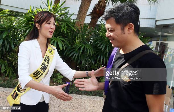 District election South Horizons West candidate Erica Yuen Mi-ming reaches out voters at South Horizons. 22NOV15