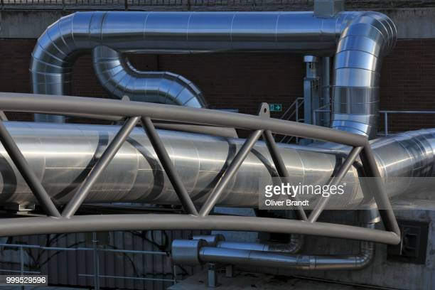 District heating pipeline on a pipeline bridge over the Berlin-Spandau Ship Canal, Moabit power plant, Moabit, Mitte district, Berlin, Germany