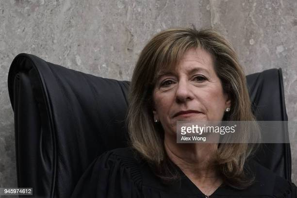 S District Judge Amy Berman Jackson listens during the investiture ceremony for US District Judge Trevor N McFadden April 13 2018 at the US District...
