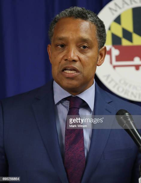 District of Columbia Attorney General Karl Racine speaks to the media about filing a lawsuit against US President Donald Trump on June 12 2017 in...