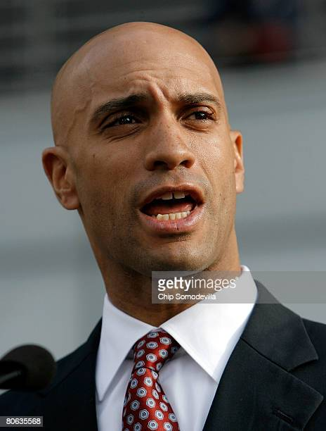 District of Columbia Mayor Adrian Fenty speaks during the grand opening of the news museum April 11, 2008 in Washington, DC. The 250,000-square-foot...