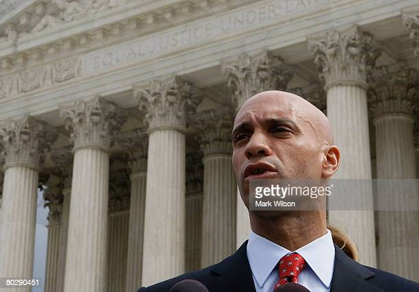 District of Columbia Mayor Adrian M Fenty speaks after oral arguments at the US Supreme Court Building March 18 2008 in Washington DC Today the high...