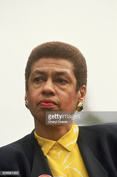 District of Columbia representative Eleanor Holmes Norton listens to a speech in which Jesse Jackson declines to run for the presidency in 1992