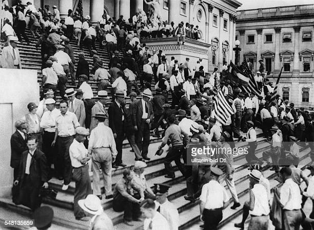 USA District of Columbia Washington DC Army veterans storming the Capitol during the Bonus March in Washington summer 1932 Vintage property of...