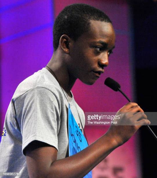 District of Columbia's Donovan T Rolle spelled 'zephyr' correctly to advance to round three at the Scripps National Spelling Bee on May 29 2013 in...