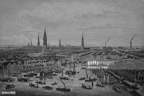 District to be redeveloped for the construction of the free port of hamburg butenkajen kehrwieder germany historical engraving 1883