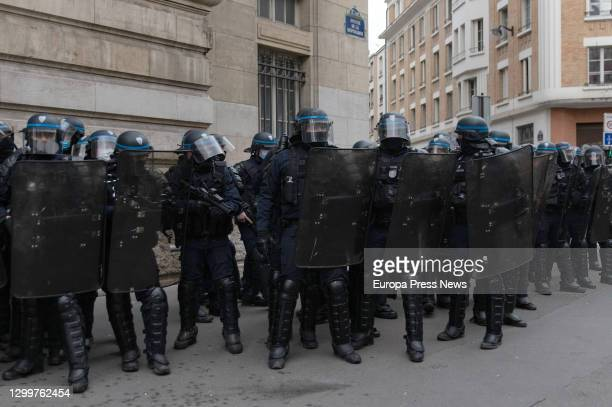 Disturbances during a demonstration by the 'yellow waistcoats', on January 2021 in Paris, France. These disturbances occurred when the police...