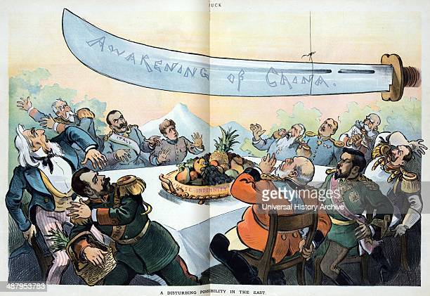 A disturbing possibility in the east by Udo Keppler 18721956 artist 1901 Illustration shows Uncle Sam sitting at a table with 10 figures three of...