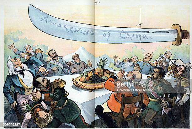 A disturbing possiblility in the east by Udo Keppler 18721956 artist 1901 Illustration shows Uncle Sam sitting at a table with 10 figures three of...