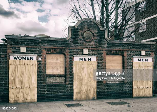 disused public toilets / restrooms - gary colet stock pictures, royalty-free photos & images