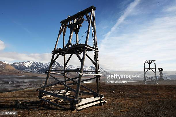 Disused wooden towers which were used to transport coal from the mines lie derelict outside the town on Longyearbyen during Midsummer on June 21 2008...
