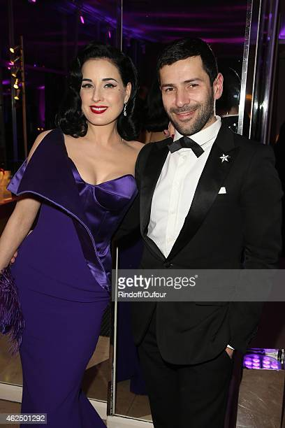 Dita von Teese and Alexis Mabille attend of the Sidaction Gala Dinner 2015 at Pavillon d'Armenonville on January 29 2015 in Paris France
