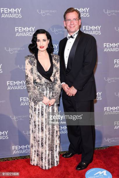 Dita Von Teese and Bob Kirkwood attend 2018 Femmy Awards hosted by Dita Von Teese on February 6 2018 in New York City