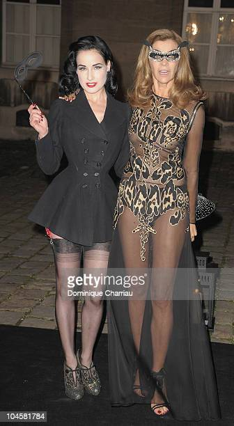 Dita Von Teese and Carine Roitfeld attend Vogue 90th Anniversary Party as part of Ready to Wear Spring/Summer 2011 Paris Fashion Week at Hotel Pozzo...