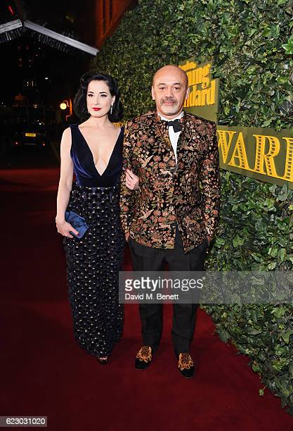 Dita Von Teese and Christian Louboutin arrive at The 62nd London Evening Standard Theatre Awards recognising excellence from across the world of...