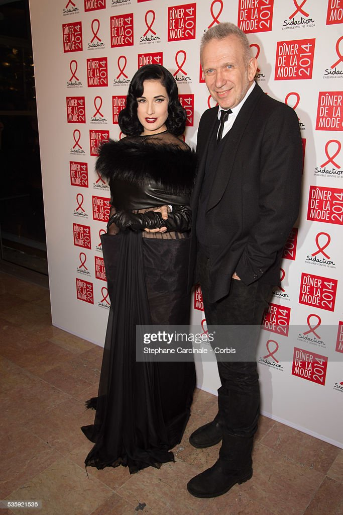 Dita von Teese and Jean Paul Gaultier attend the Sidaction Gala Dinner at Pavillon d'Armenonville, in Paris.
