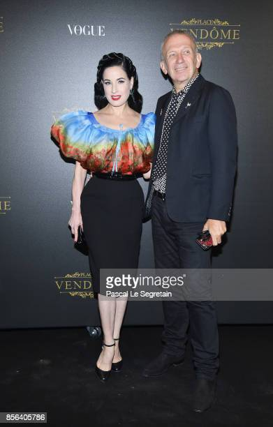 Dita Von Teese and JeanPaul Gaultier attend the Irving Penn Exhibition Private Viewing Hosted by Vogue as part of the Paris Fashion Week Womenswear...