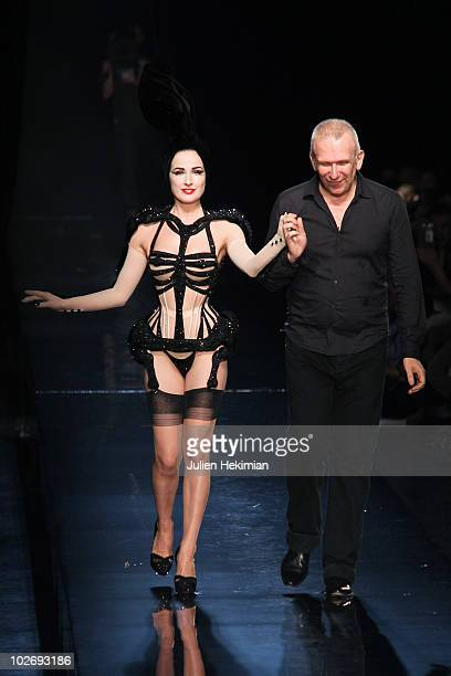 Dita Von Teese and JeanPaul Gaultier walks the runway at the JeanPaul Gaultier show as part of the Paris Haute Couture Fashion Week Fall/Winter 2011...