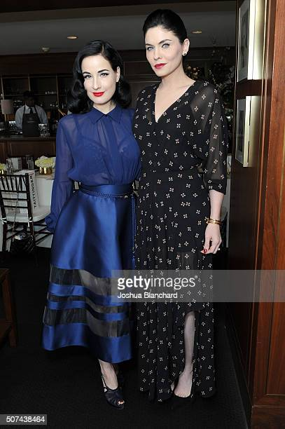 Dita Von Teese and Jodi Lyn O'Keefe attend the Champagne Taittinger ANGELENO Celebrate Entrepreneurial Women In Hollywood at Sunset Tower Hotel on...