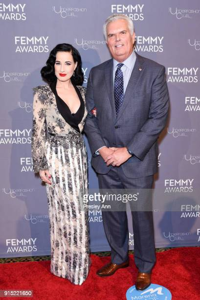 Dita Von Teese and Less Hall attend 2018 Femmy Awards hosted by Dita Von Teese on February 6 2018 in New York City