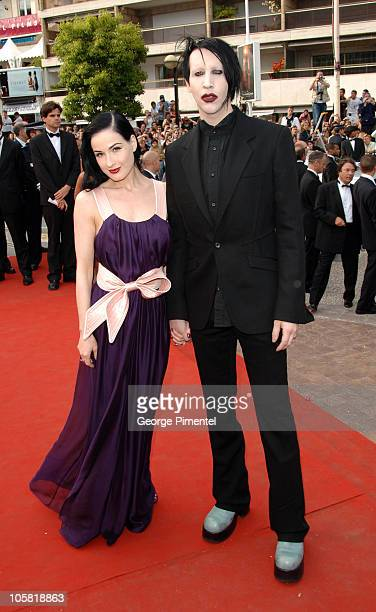 "Dita Von Teese and Marilyn Manson during 2006 Cannes Film Festival - ""Selon Charlie"" Premiere at Palais du Festival in Cannes, France."