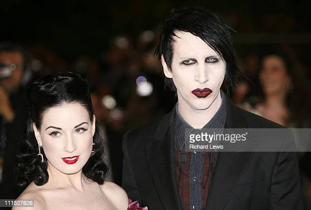 "Dita Von Teese and Marilyn Manson during 2006 Cannes Film Festival - ""Southland Tales"" Premiere at Palais des Festival in Cannes, France."