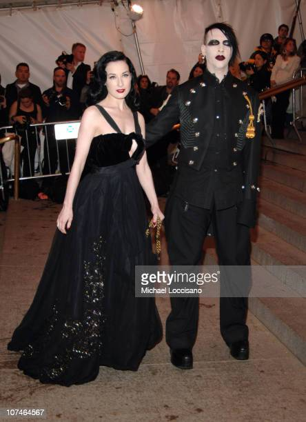 Dita Von Teese and Marilyn Manson during Chanel Costume Institute Gala Opening at the Metropolitan Museum of Art Arrivals at Metropolitan Museum of...