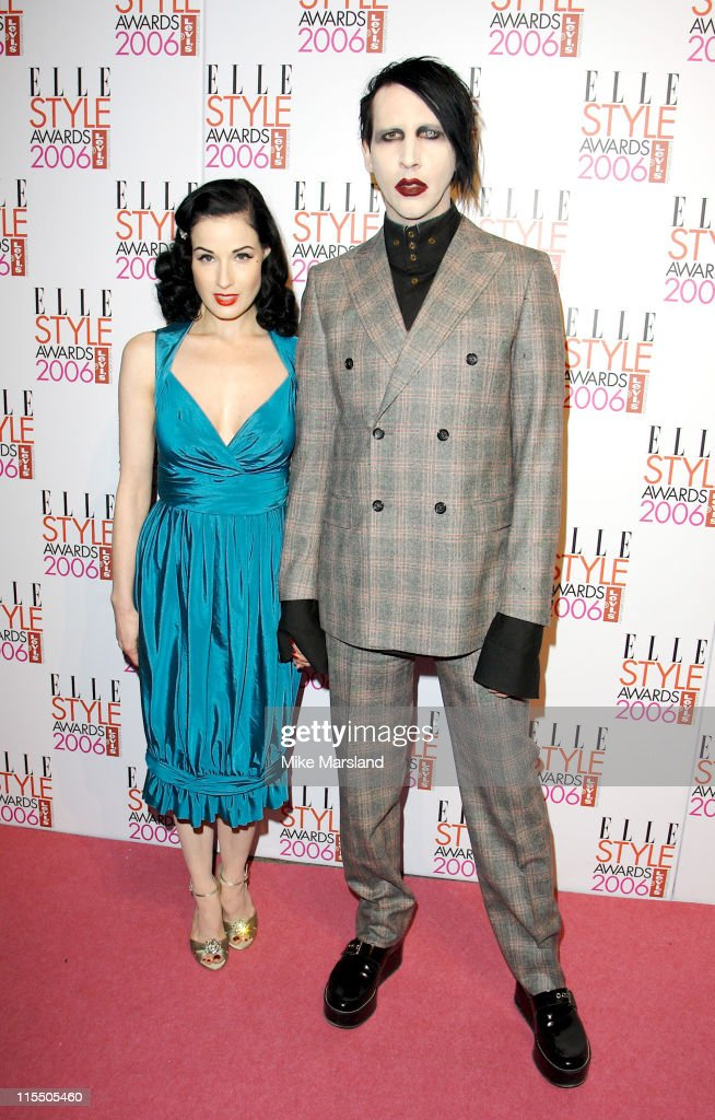 Dita Von Teese and Marilyn Manson during Elle Style Awards 2006 - Inside Arrivals at Old Truman Brewery in London, Great Britain.