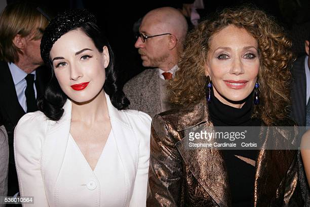 Dita von Teese and Marisa Berenson attend the Christian Dior Spring/Summer 20072008 Haute Couture fashion show during Paris Fashion Week