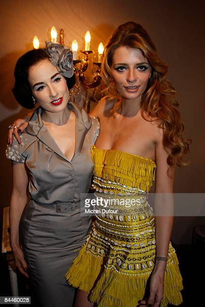 Dita von Teese and Mischa Barton attends in backstage at the Christian Dior fashion show during Paris Fashion Week Haute Couture Spring/Summer 2009...