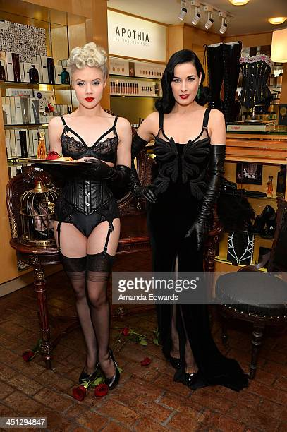 Dita Von Teese and Mosh launch Von Teese's 4th fragrance 'Erotique' at Fred Segal on November 21 2013 in West Hollywood California